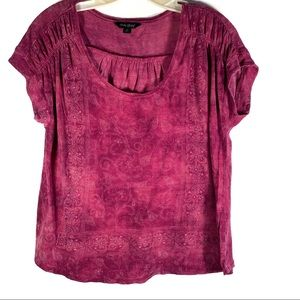 LUCKY BRAND SHORT SLEEVES BOHO PURPLE TOP